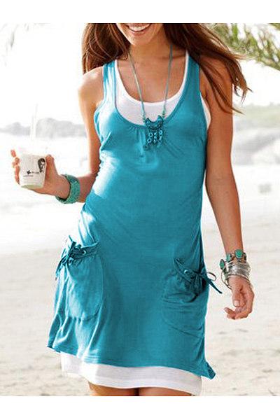 Round Neck  Drawstring  Plain Shift Dress