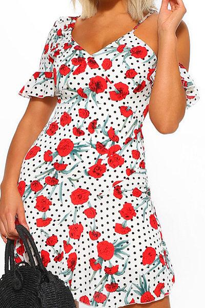 V Neck  Flounce  Floral Printed  Casual Dresses