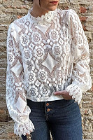 Sexy Perspective Long Sleeve   Stand Collar Lace Top