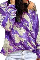Casual  Strapless Abstract Print Long Sleeve T-Shirt