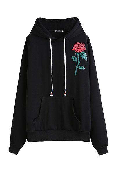 Hooded  Drawstring  Floral  Sweatshirts