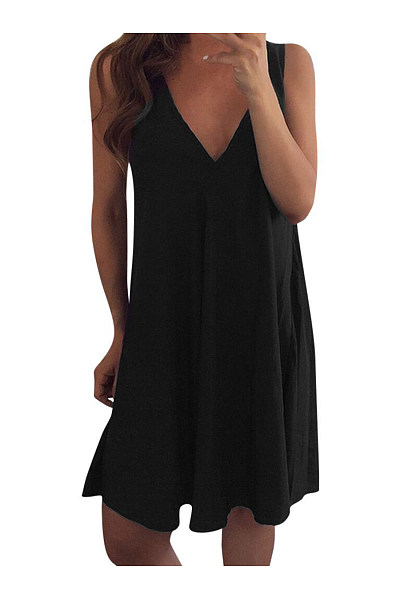 V Neck Sleeveless Plain Brief Casual Dresses