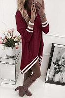 Cowl Neck  Asymmetric Hem  Patchwork  Long Sleeve Casual Dresses