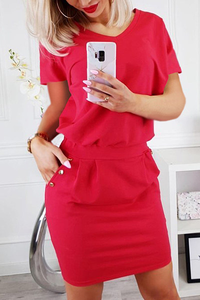 6cd6e41c7e V Neck Decorative Buttons Plain Short Sleeve Bodycon Dresses ...