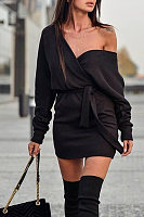 Off Shoulder  Plain  Long Sleeve Bodycon Dresses