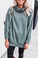 Cowl  Neck  Plain  Casual  Sweatshirts