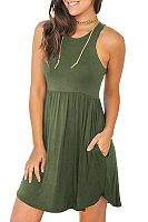 Round Neck  Asymmetric Hem  Plain  Sleeveless Casual Dresses
