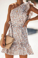 Small Floral One-Shoulder Sexy Mini Dress