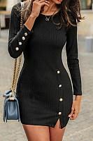 Long Sleeve Plain Side Slit Mini Dress
