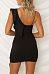 Deep V Neck  Asymmetric Hem Backless  Plain  Sleeveless Bodycon Dresses
