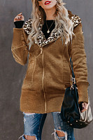 Fashion Leopard Print With Hat Thickening Zipper Slim Coat