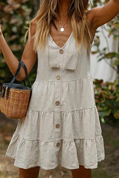 Multi-Layer Stitching Linen Cool Dress