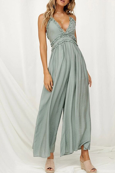 Sexy Deep V-Neck Backless Solid Color Jumpsuits