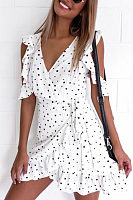 V Neck  Asymmetric Hem  Belt  Dot  Short Sleeve Casual Dresses