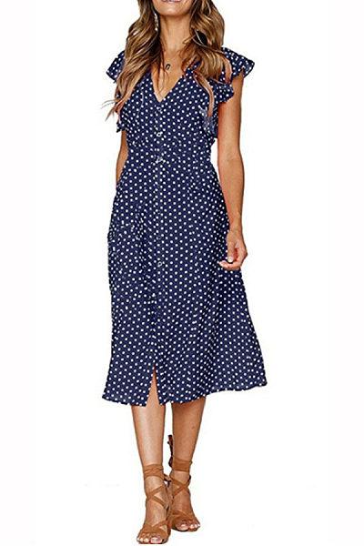 V Neck  Single Breasted  Dot  Short Sleeve Maxi Dresses