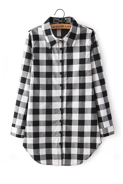 Button Down Collar  Single Breasted  Checkered Shirts