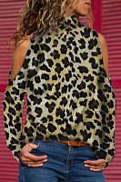 High Neck  Leopard T-Shirts