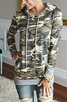 Hooded  Drawstring  Camouflage Sweaters