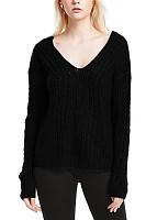 Deep V Neck  Asymmetric Hem  Plain Sweaters