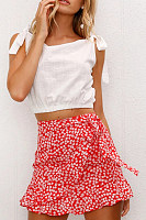 Belt Loops  Print Casual Skirts