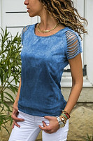 Cotton Openwork Short-Sleeved T-Shirt