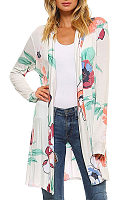 White Snap Front  Floral Printed Cardigans