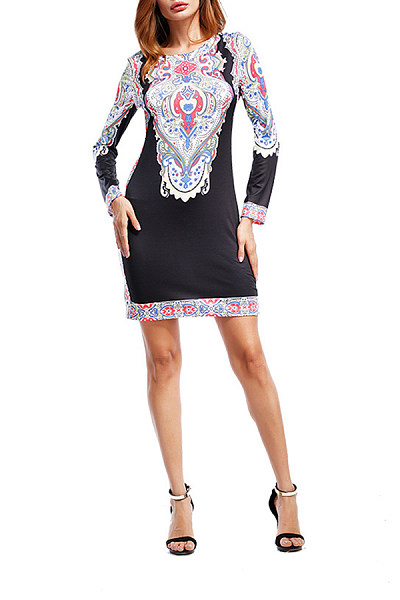 Round Neck  Printed  Long Sleeve Bodycon Dresses