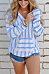 V Neck  Kangaroo Pocket  Striped Hoodies