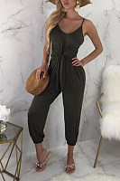 Spaghetti Strap  Backless  Belt  Plain  Sleeveless Jumpsuits