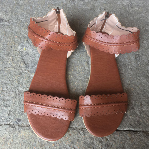 Flat  Ankle Strap  Peep Toe  Casual Socofy  Sandals