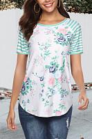 Round Neck  Asymmetric Hem Patchwork  Print T-Shirts