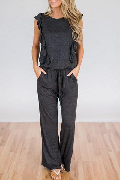 Lace Up Ruffle Trim  Plain Jumpsuits