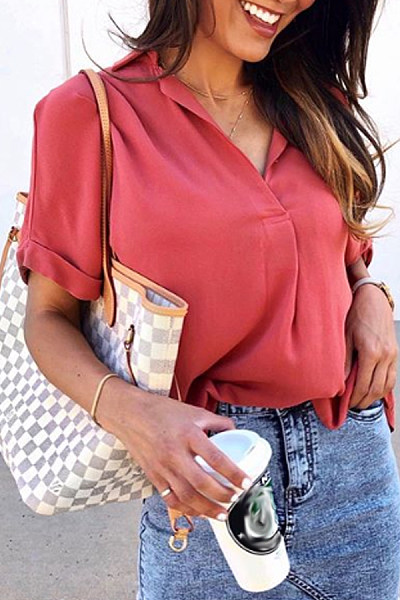 Casual Solid Color V Neck Blouses Shirt