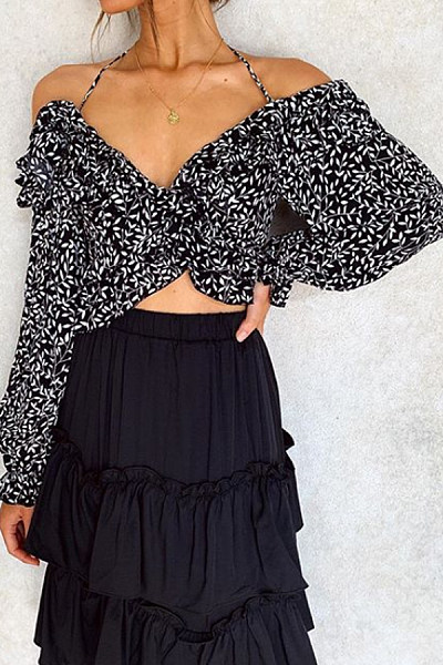 Sexy Halter Strapless Long Sleeve Leaf Pattern Long Sleeve Lumbar Shirt
