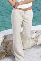 Summer  Casual  Belt  Loops   Plain  Pants