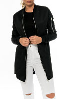 Band Collar  Zipper  Patchwork Jackets