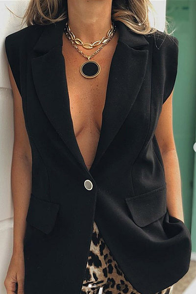 Casual Solid Color Lapel One Button Sleeveless Suit
