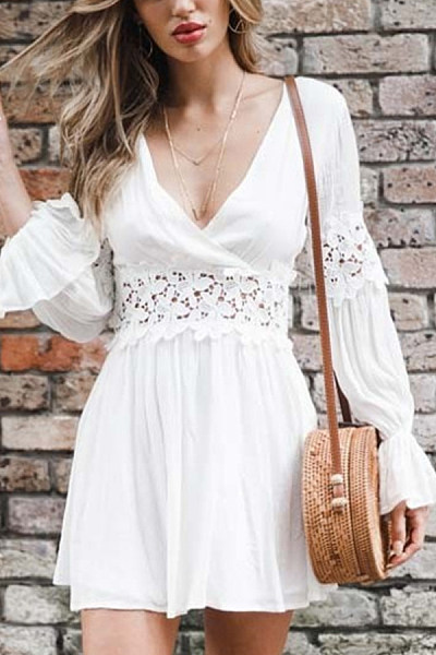 Deep V Neck  Decorative Lace  Plain  Long Sleeve Skater Dresses