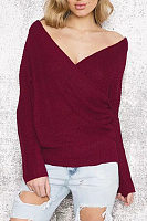 Surplice  Plain  Raglan Sleeve Sweaters