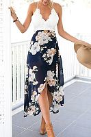 Deep V Neck Curved Hem Sleeveless Maxi Dresses