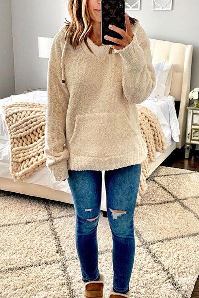 Casual Solid Color Kangaroo Pocket Long Sleeve Hooded Sweatshirt