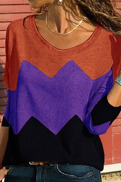 Fashion Off Shoulder Color Blocking Thin Shirt