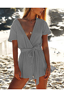 Casual Pure Color Sexy   V Neck Jumpsuit