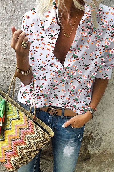 Turn Down Collar  Print  Blouses