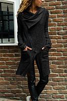 Fold Over Collar  Zipper  Plain Cardigans