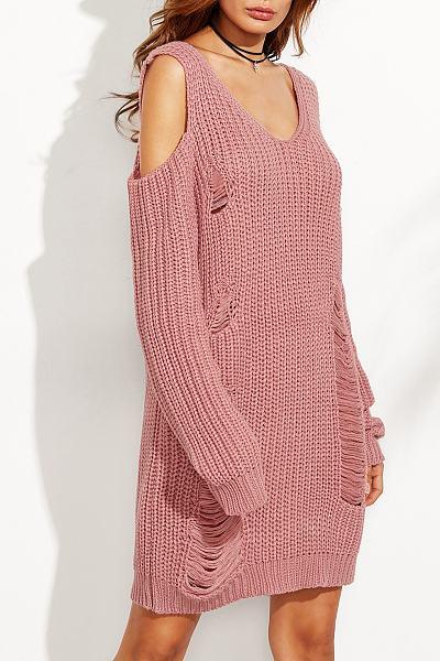 Round Neck Cutout Knitwear