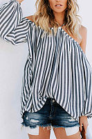 Strap Sexy  Long Lantern Sleeve Stripe T-Shirts