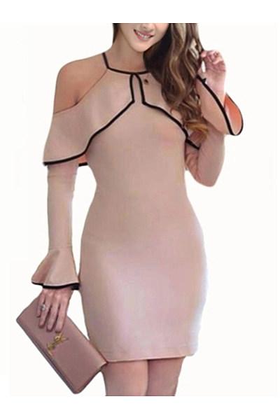 Open Shoulder Contrast Trim Flounce Bodycon Dress