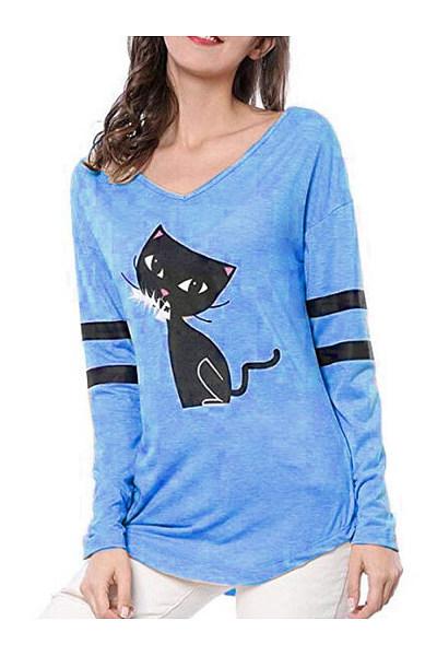 V Neck  Loose Fitting  Animal Prints Long Sleeve T-Shirts