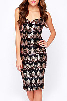 V Neck Glitter Waves Patchwork Bodycon Dress